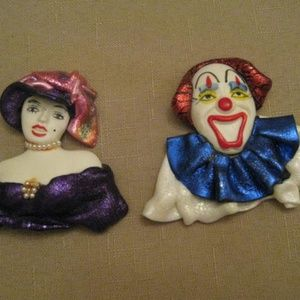 Handcrafted One Of A Kind Face Head Brooches